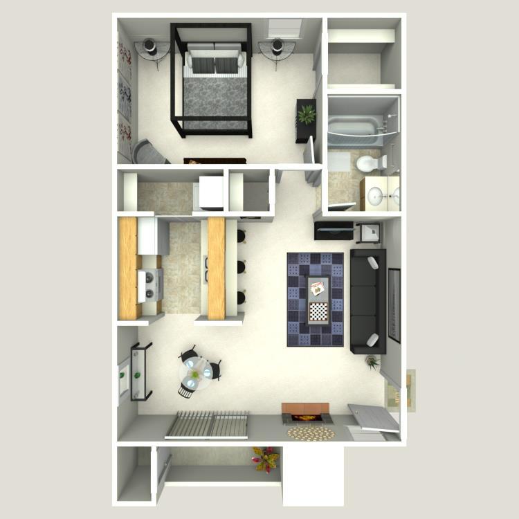 605 sq. ft. A-3 floor plan