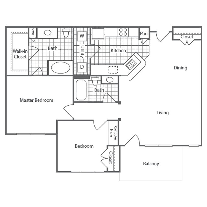1,115 sq. ft. Highland floor plan
