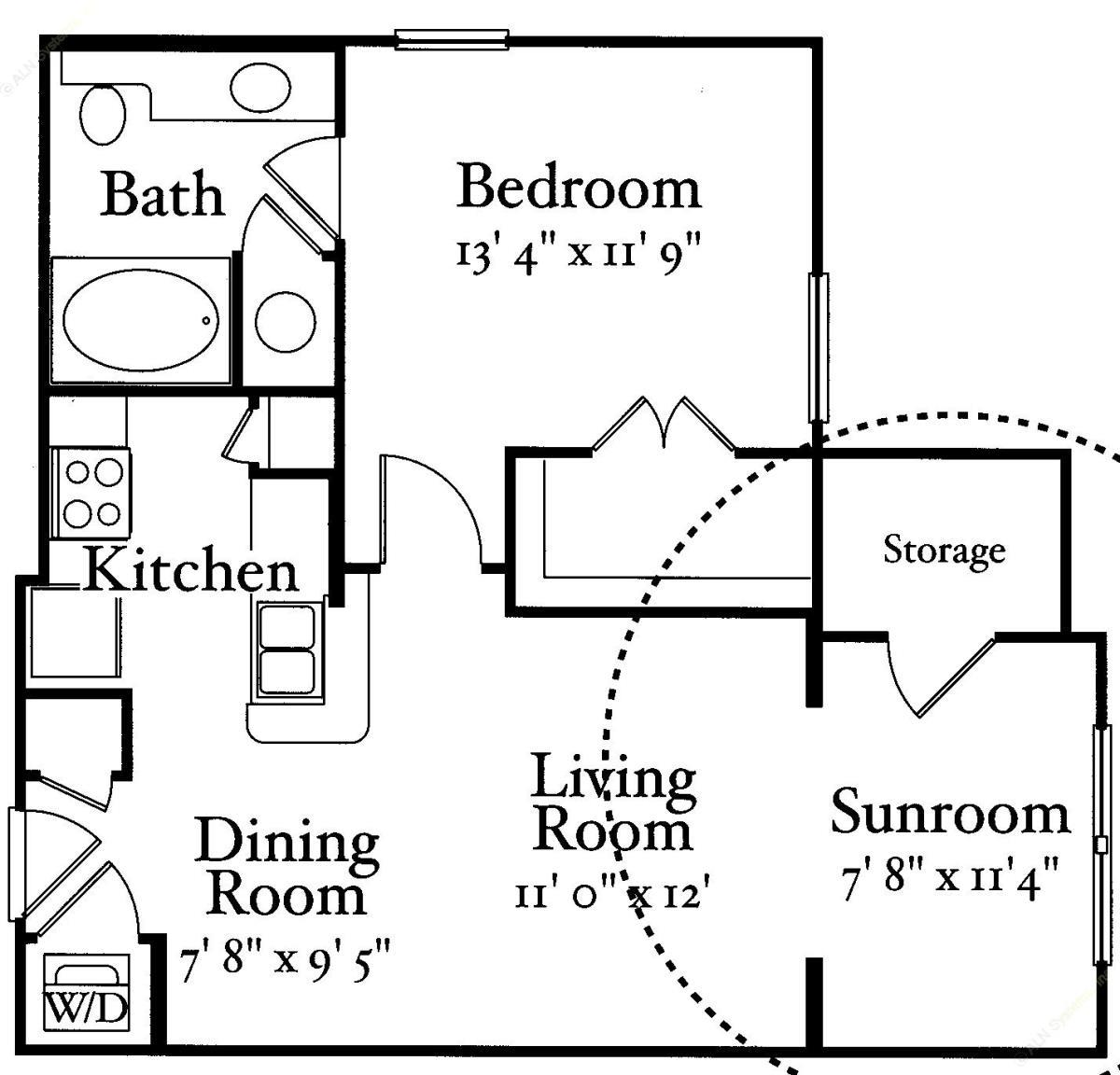 693 sq. ft. A1 floor plan