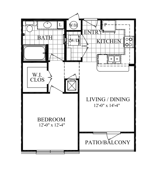 668 sq. ft. A floor plan