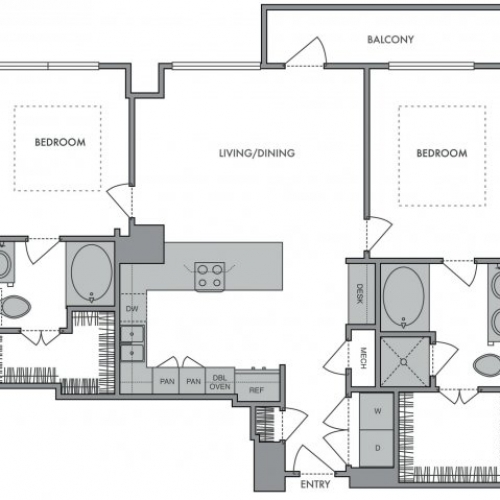1,187 sq. ft. J floor plan