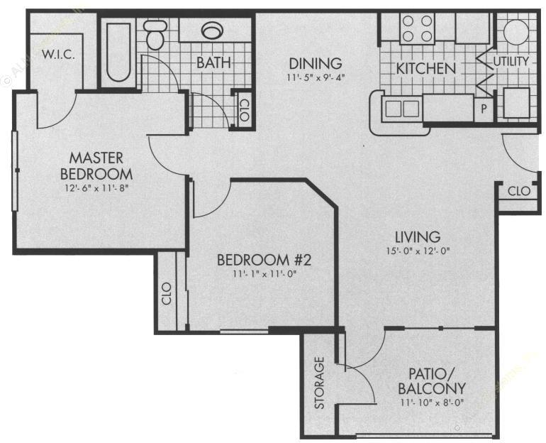 879 sq. ft. B1 floor plan