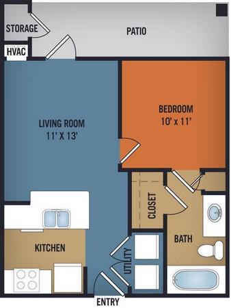 511 sq. ft. Grandbury floor plan