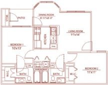 845 sq. ft. B1 wellington floor plan