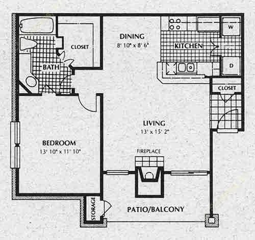 708 sq. ft. A3 floor plan