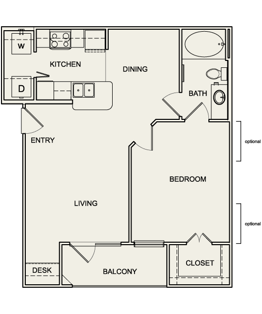 701 sq. ft. to 710 sq. ft. A1 floor plan