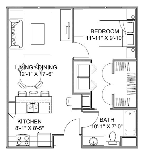 663 sq. ft. Avenue A 60 floor plan