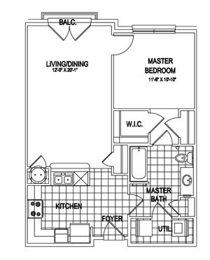 773 sq. ft. Cambridge floor plan