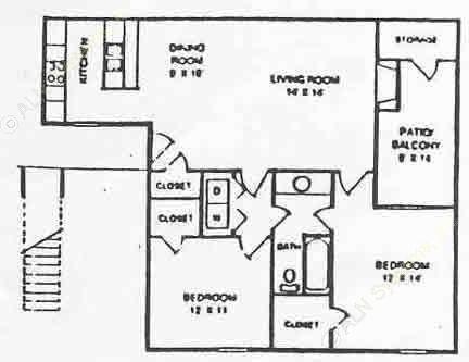 890 sq. ft. B1 floor plan