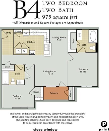 975 sq. ft. B4/60% floor plan
