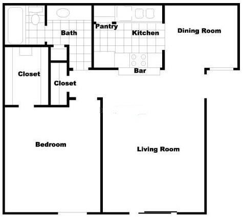 731 sq. ft. floor plan