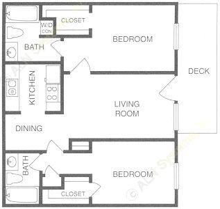 913 sq. ft. B floor plan