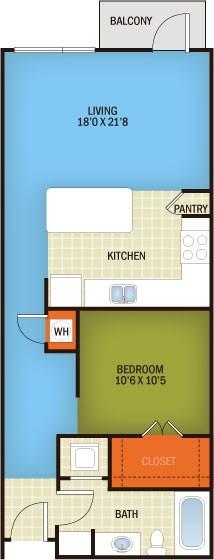 776 sq. ft. Clarksville - A2 floor plan