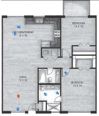 1,089 sq. ft. B1 floor plan