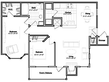 934 sq. ft. MAGNOLIA floor plan