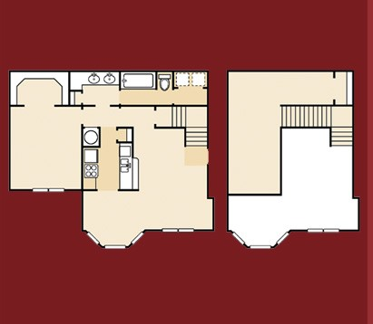 1,077 sq. ft. A11GR floor plan