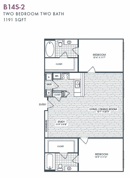 1,191 sq. ft. B14S-2 floor plan