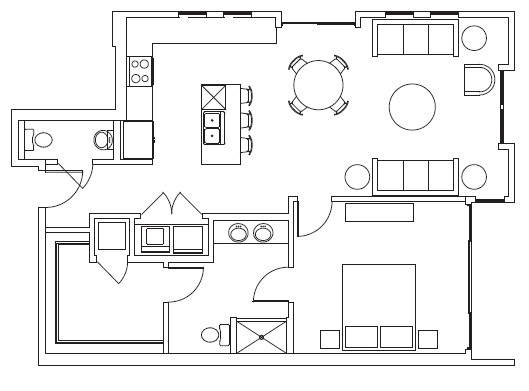 990 sq. ft. Museum floor plan