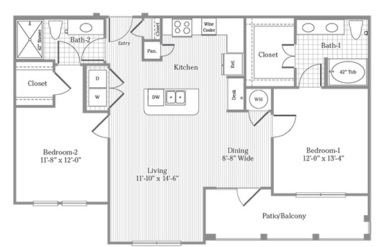 1,130 sq. ft. B2 floor plan