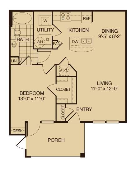 783 sq. ft. Cypress floor plan