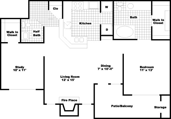 914 sq. ft. PH I floor plan