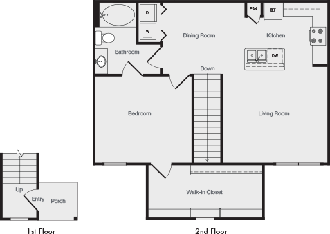 910 sq. ft. A5 floor plan