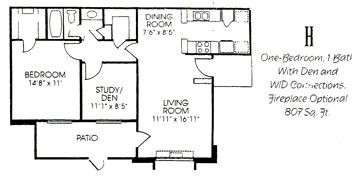 807 sq. ft. H floor plan