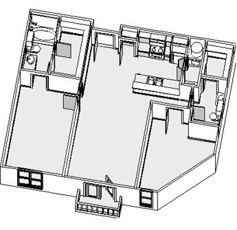 1,023 sq. ft. to 1,042 sq. ft. floor plan