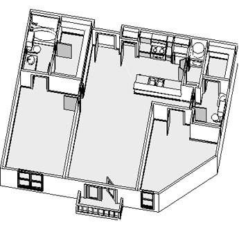 1,023 sq. ft. floor plan