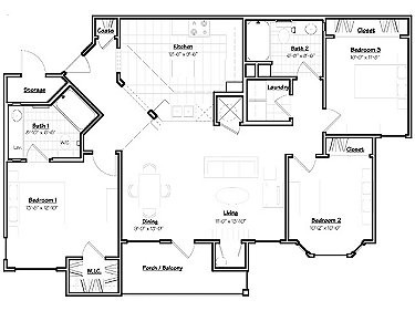 1,277 sq. ft. SEQUOIA floor plan