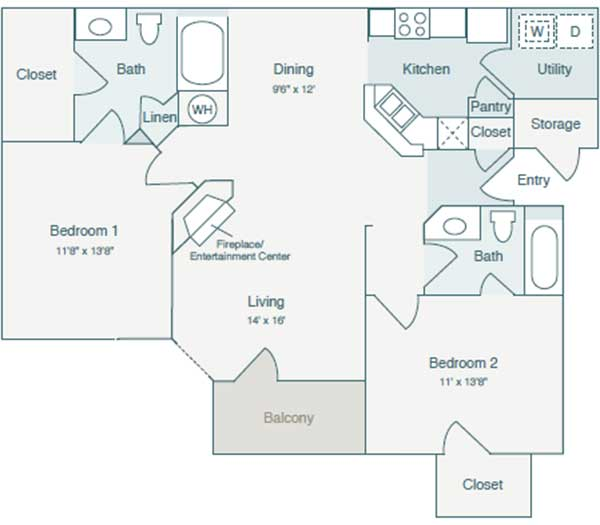 1,089 sq. ft. B1 floor plan