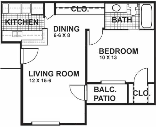 573 sq. ft. A2 floor plan