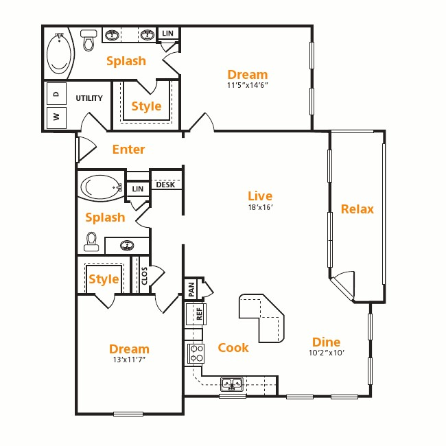 1,285 sq. ft. E floor plan
