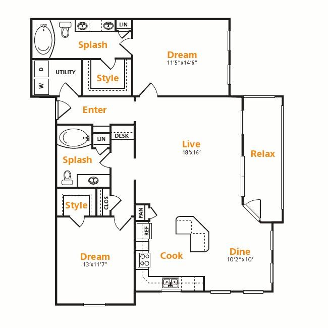 1,285 sq. ft. B3 floor plan