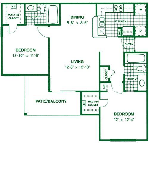 921 sq. ft. B1 floor plan