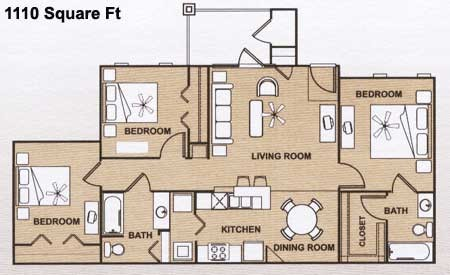 1,110 sq. ft. C 60% floor plan