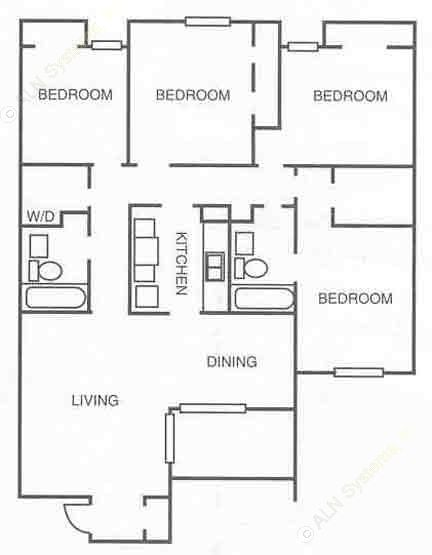 1,256 sq. ft. floor plan
