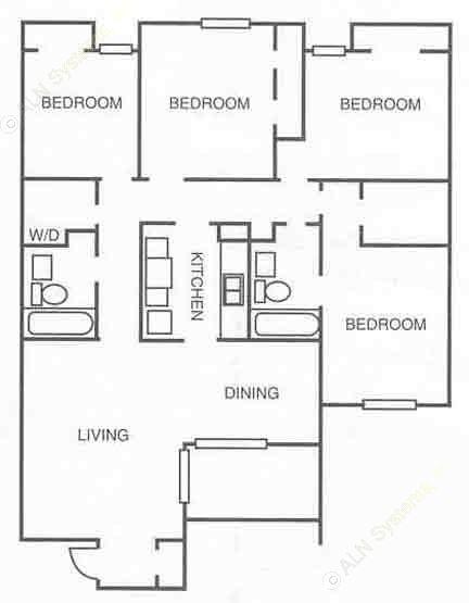 1,256 sq. ft. floor plan