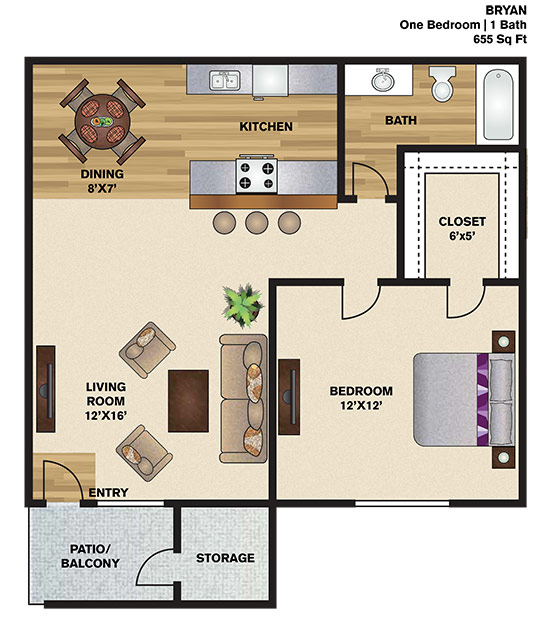 655 sq. ft. B floor plan
