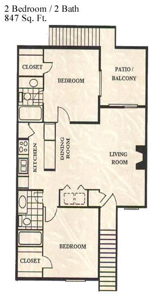 847 sq. ft. floor plan