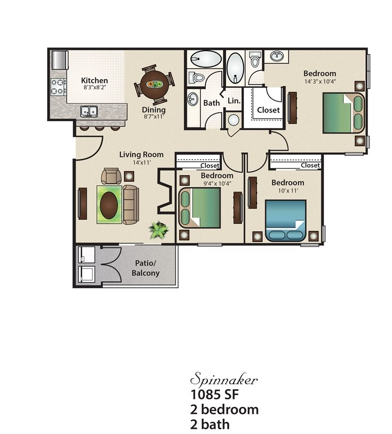 1,085 sq. ft. Spinnaker floor plan