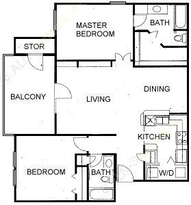 1,103 sq. ft. F floor plan