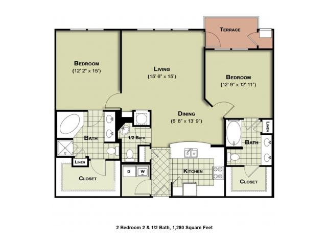 1,280 sq. ft. B2a floor plan
