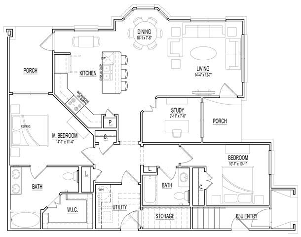1,276 sq. ft. B3 Low floor plan