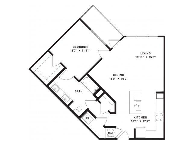 847 sq. ft. A16 floor plan