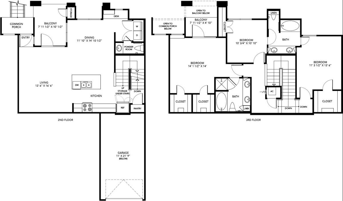 1,563 sq. ft. C3 floor plan