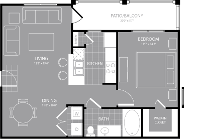 744 sq. ft. A2 floor plan