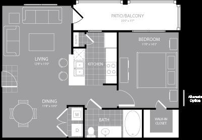 744 sq. ft. A2 floor plan