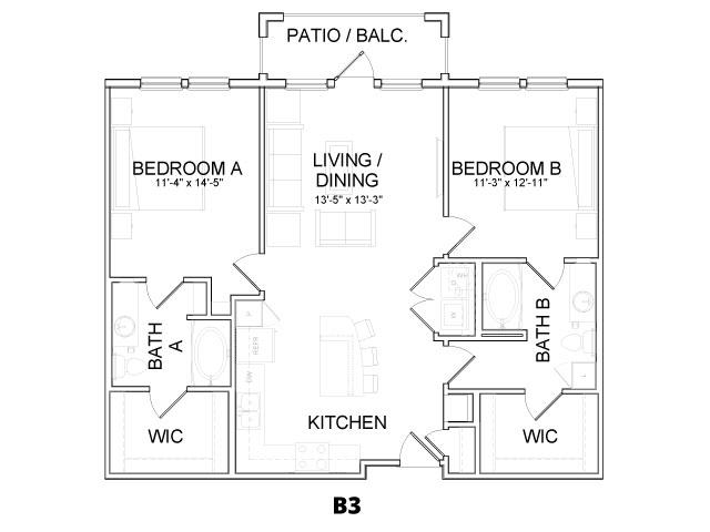 1,119 sq. ft. B3 floor plan