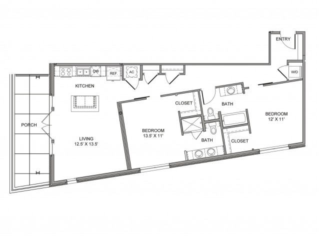 1,131 sq. ft. Commerce floor plan